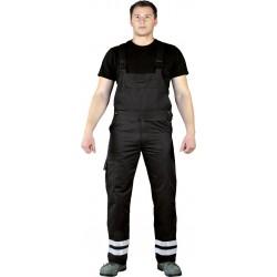 Spodnie ogrodniczki Leber Hollman LH-BISTER X czarne z pasami odblaskowymi r. 48 -62