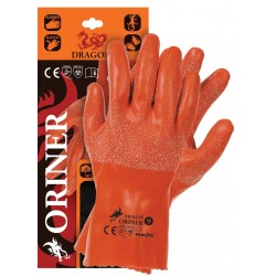 Rękawice ochronne wykonane z gumy DRAGON ORINER P dostępne w rozmiarach od 7 do 11, długość 30 cm.