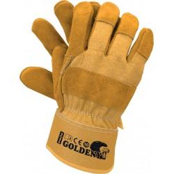 Rękawice ochronne wzmacniane skóra REIS GOLDENY YY r. 10