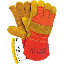 Rękawice ochronne wzmacniane skórą REDGOLD-LONG CY r. 10