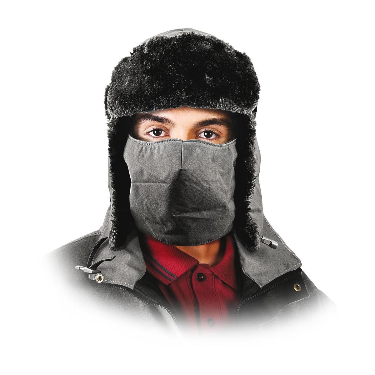 Czapka ocieplana uszatka z osłoną na twarz REIS CZOPAPA-FACE czarna r. 61