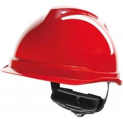 Hełm ochronny MSA V-Gard 520 Fas-Trac czerwony krótki daszek