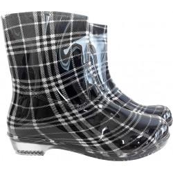 Buty damskie krótkie kalosze REIS BTDKCHECK BW czarno-białe r. 36 - 41