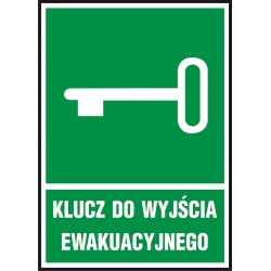 """Znak ewakuacyjny """"Klucz do wyjścia ewakuacyjnego"""" płytka PCV 150x205"""