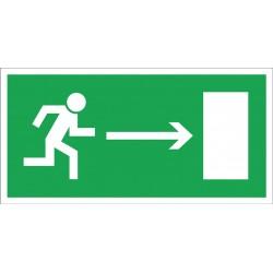 """Znak ewakuacyjny """"Kierunek do wyjścia drogi ewakuacji w prawo"""" 150x300 płytka PCV"""