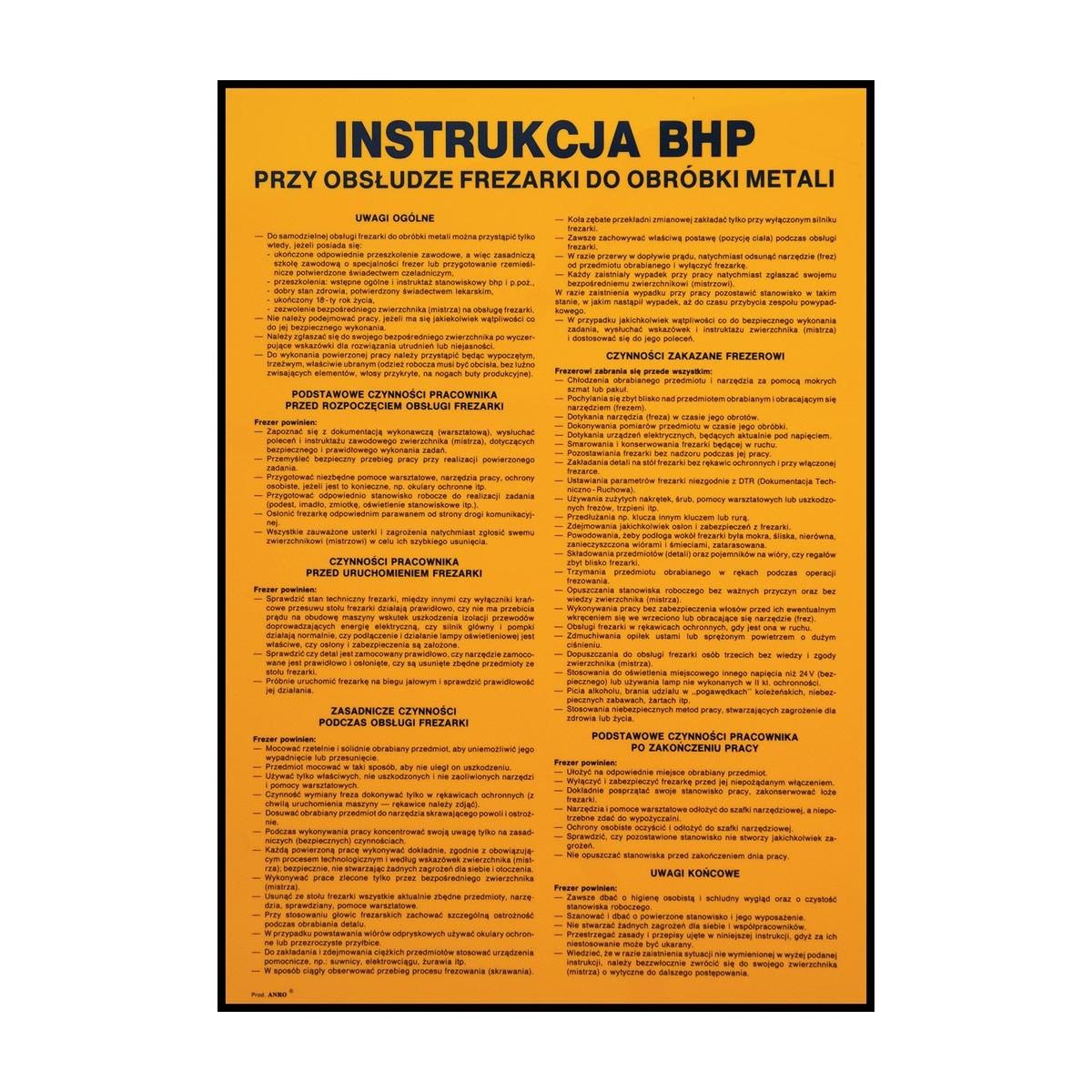 """Instrukcja BHP""""Instrukcja BHP przy obsłudze frezarki do obróbki metali"""""""