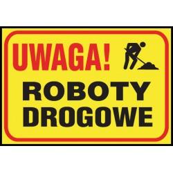 "Tablica budowlana ""Uwaga! Roboty drogowe"""