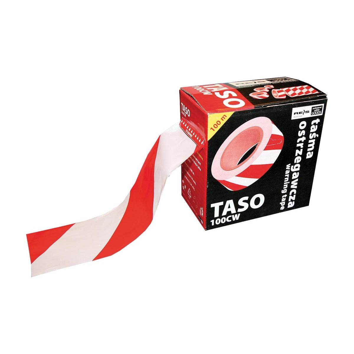 Taśma ostrzegawcza biało-czerwona dwustronna REIS TASO 100m