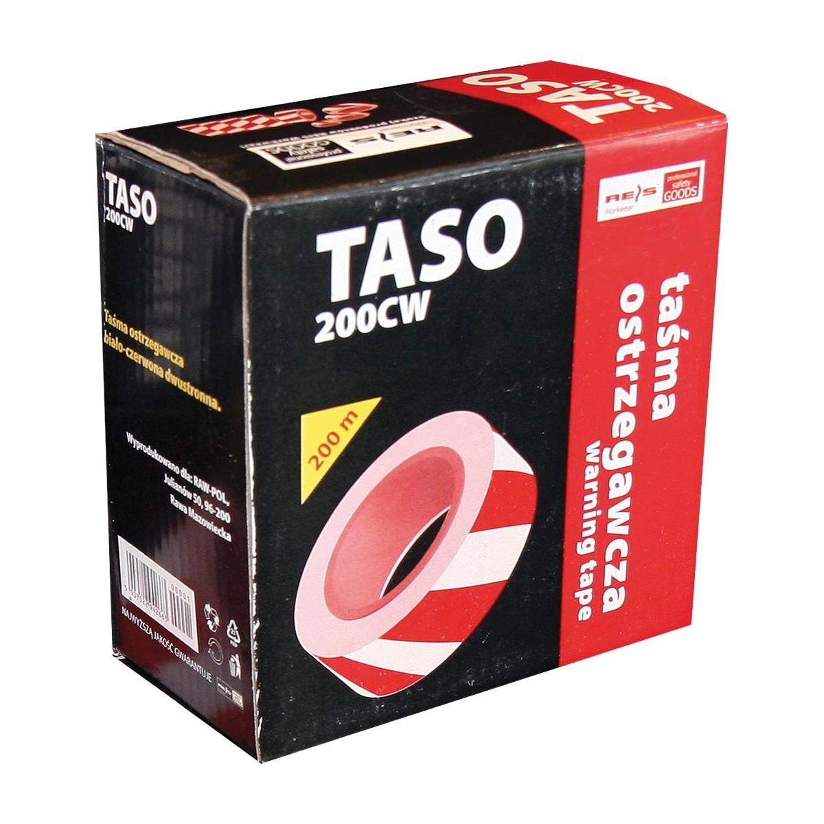 Taśma ostrzegawcza dwustronna czerwono-biała REIS TASO 200m