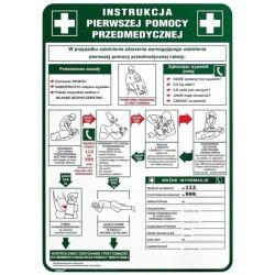 """Instrukcja BHP """"Instrukcja pierwszej pomocy przedmedycznej"""" płyta PCV 250x350mm"""