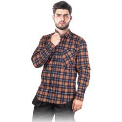 Koszula flanelowa kratka 100% bawełna REIS KF-GC granatowo-pomarańczowa r. M - 3XL