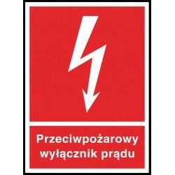 Znak ochrony ppoż. Przeciwpożarowy wyłącznik prądu 150x25 płytka PCV