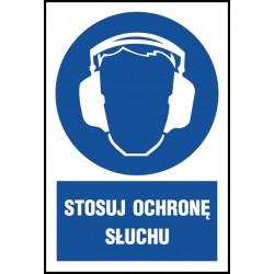 """Znak BHP """"Stosuj ochronę słuchu"""" 220x300 płytka PCV"""