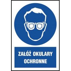"""Znak BHP """"Załóż okulary ochronne"""" 220x300 płytka PCV"""