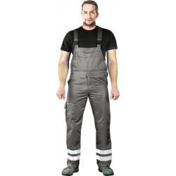Spodnie ogrodniczki Leber Hollman LH-BISTER X szare z pasami odblaskowymi r. 48 -62