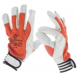 Oferta hurtowa - Rękawice ochronne wykonane z wysokiej jakości skóry koziej, z dzianiną w kolorze pomarańczowym PROORA