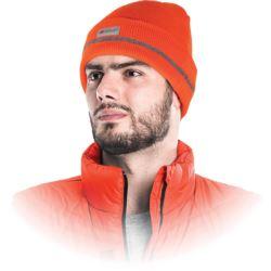 Czapka zimowa ocieplana pomarańczowa z odblaskiem CZVIS-S PSI