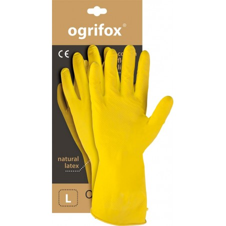 Rękawice ochronne gumowe flokowane OGRIFOX OX-FLOX żółte r. S - XL