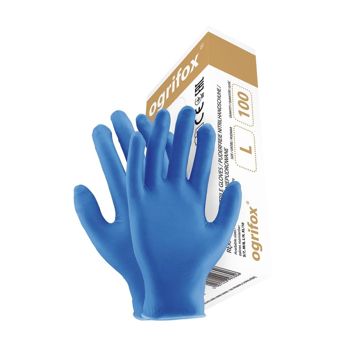 Rękawice nitrylowe bezpudrowe OGRIFOX OX-NIT-PF niebieskie r. S - XL