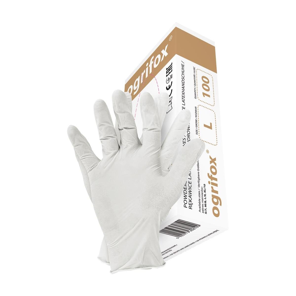 Rękawice lateksowe pudrowane OGRIFOX OX-LAT WHI białe r. S - XL