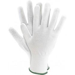 Rękawice ochronne dziane z jednostronnym mikronakropieniem RMICRONYL białe