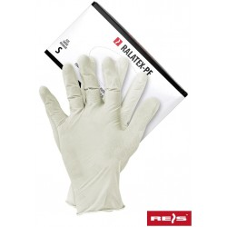 Rękawice lateksowe powlekane polimerem bezpudrowe REIS RALATEX-PF  r. S - XL